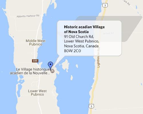 Location Map Historical Acadian Village of Nova Scotia